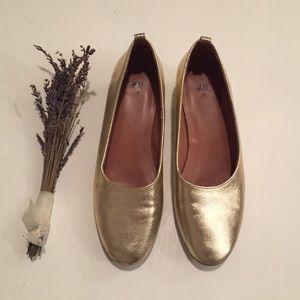 H&M Sparkled Gold Block Heel